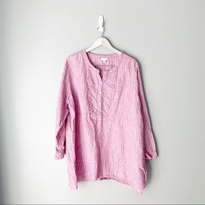 J Jill pink striped linen long sleeve blouse